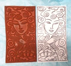 Ducks in a Row Asian lady rubber stamp woman with oriental design fan Curly hair #Unbranded #WomanPanelOriental