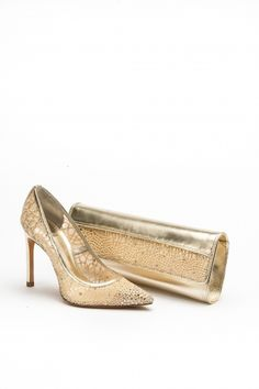 High heel embroidered mesh court shoe with matching bag