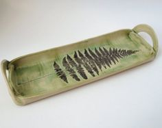 Fern Frond Pottery Serving Dish, Hand Built, Hand Painted Ceramic Tray