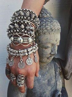 Estilo Punk boêmio grosso criança de lua de prata turca Antalya pulseira amantes da lua Gypsy Beachy Chic Festival moeda de prata