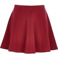 River Island Dark red skater skirt ($12) ❤ liked on Polyvore featuring skirts, faldas, bottoms, jupes, sale, jersey skirt, circle skirt, jersey knit skirt, elastic waist skirt and jersey skater skirt