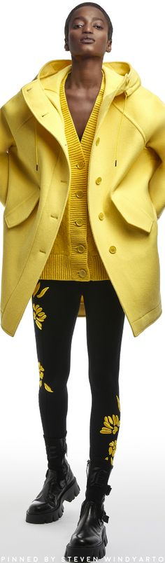 Knit Fashion, Fashion Pants, Womens Fashion, Ermanno Scervino, Yellow Fashion, Cardigan, Cool Jackets, Sweater Weather, Black N Yellow