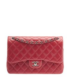 Chanel Jumbo Classic Red Quilted Lambskin Leather Flap Shoulder Bag