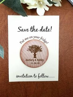 save the date magnet Wedding Wooden Save-the-Date Magnet, Tree Wood Magnet , custom save the date or Wedding favors your rustic magnets Rustic Save The Dates, Save The Date Magnets, Card Envelopes, Just Married, Love Is Sweet, Custom Wood, Wedding Guest Book, Hand Stamped, Wedding Favors
