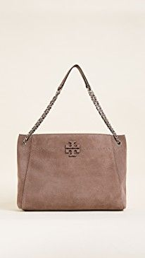 06fa7ff05 Tory Burch Mcgraw Suede Chain Shoulder Slouchy Tote Satchel, Crossbody Bag,  Hobo Purses,