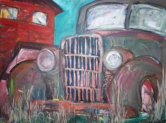 Old Gray Car by Elisa Root: Oil Painting available at www.artfulhome.com