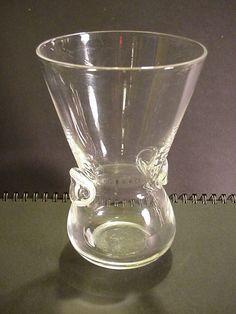 Stuben Art Glass Vase 6 inches tall Signed Stuben
