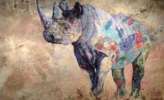 Black Rhino slide Home | Sophie Standing Art | Textile embroidery art from Africa