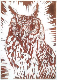 This Lino print is of a Eagle Owl using a linoleum block which has been hand carved and hand printed using a burnishing technique. This print is