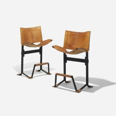 Max Gottschalk; Steel and Leather Bar Stools, c1965.