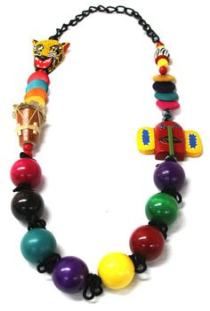 Collar Carnaval Madera Collars, Polymer Clay, Beaded Bracelets, Chic, Facebook, Jewelry, Halloween, Craft, Google