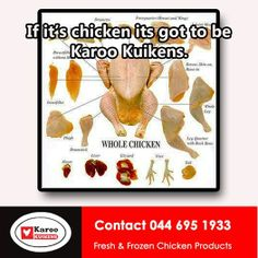 Karoo Kuikens stocks fresh and frozen chicken at unbeatable prices. We also have a huge variety of Free Ranges chicken products to choose from. Frozen Chicken, Free Range, Ranges, Healthy Eating, How To Get, Fresh, Products, Eating Healthy, Healthy Nutrition