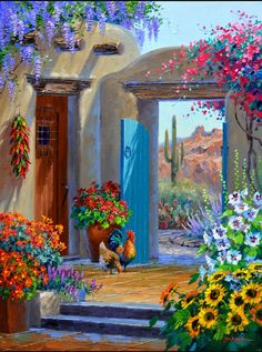 Mediterranean – Original Acrylic Painting on Canvas, in/, unframed , Colorful Artwork Mexican Artwork, Mexican Paintings, Mexican Folk Art, Southwestern Art, Desert Art, Beautiful Paintings, Amazing Art, Landscape Paintings, Watercolor Art