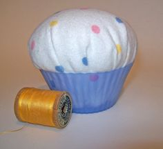 Cupcake Pincushion Pinkeep Pin Pillow Novelty by OodlesOfWhimsy, $8.00