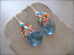 Blue topaz Quartz  Earrings, Blue Cluster Earrings, Sapphire  Cluster Earrings, Fine Jewelry on Etsy, $165.00