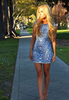 blue print dress #summer