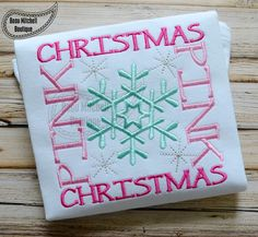 Pink Christmas Snowflake square - Beau Mitchell Boutique