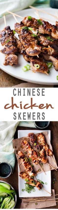 A delicious Asian inspired recipe for Chinese Chicken skewers that's going to knock your socks off! Simple but full of flavor! Chinese Dinner, Chinese Party, Chinese Chicken Skewers Recipe, Chinese Food Recipes Chicken, Grilled Chicken Skewers, Asian Chicken, Thai Recipes, Asian Recipes, Kebab Skewers