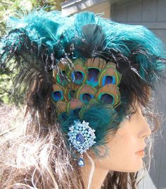 Crowning Glory Peacock Eyes Feathered Hair by nevadawoodsjewelry, $50.00