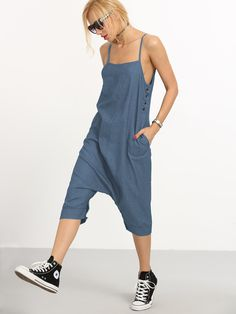 Buttoned Drop Crotch Denim Overall Pants