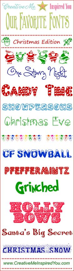 12 Christmas Fonts - CreativeMeInspiredYou.com ~~ {12 Free fonts w/ instant download links}