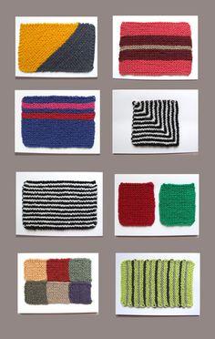 Patterns for Leftover Yarn Postcards - knitted postcards! #diy