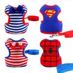 Adjustable Small Medium Pet Dog Leads Harness Set Cute Puppy Cat Leads Superman Spiderman Protection Comfort Strap Vest