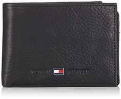Brieftasche 3-teilig, Leder, Marke TOMMY HILFIGER, einfarbig schwarz, geprägtes Logo, Querformat, 10.50x8x3cm, in Kartonbox verpackt. 1 Geldscheinfach, 1 Münzfach mit Druckknopf, 6 Kreditkartenfächer, 4 kleine Steckfächer