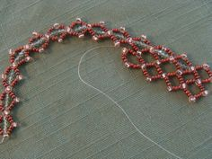 Double row diamond pattern choker necklace.  Copper  11/0 seed bead with Swarski 4mm faceted beads various shades