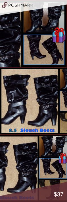 Black Size 8.5 Leather Slouch Boots EUC ⚡ Beautiful & Soft.  I have only worn them twice.  they were purchased at Fashion Bug Retail price was $69.99.  ⚡ Send to a bundle with 1 more item and receive a private discount. THANK YOU for looking in my closet Fashion Bug Shoes Heeled Boots