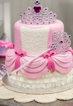 For the advanced cake decorator, try a two-tier princess cake, complete with crown and scepter DecoSet® cake topper.: