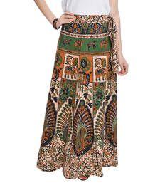 Buy Beige Bagru Printed Cotton Wrap Around Long Skirt skirt online