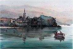 Dusan Djukaric Watercolor, 36x54 cm Watercolour Tutorials, Watercolor Artists, Artist Painting, Watercolor Paintings, Watercolors, Watercolor Water, Online Art Gallery, Art For Sale, Contemporary Art