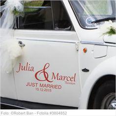 Autoaufkleber Hochzeit - Just Married mit Vornamen 02