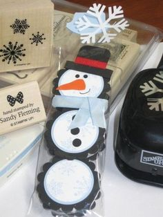 paper craft treat | Stampin' Up! Treat Holder Sandy Fleming Peppermint Patty Snowman