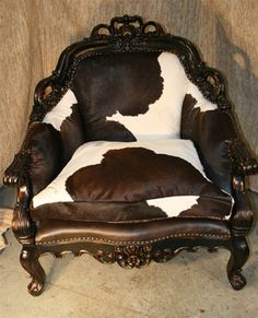 Cowhide Chair - love the Victorian look Cowhide Furniture, Cowhide Chair, Western Furniture, Funky Furniture, Rustic Furniture, Zebra Chair, Tuscan Furniture, Eclectic Furniture, Leather Furniture