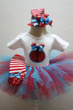 Girls Dr Suess inspired first birthday tutu set with by christy961, $56.00