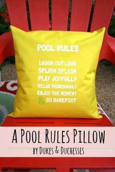 a pool rules pillow