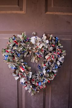 Heart shaped wreath using BDU camouflage and patriotic fabric
