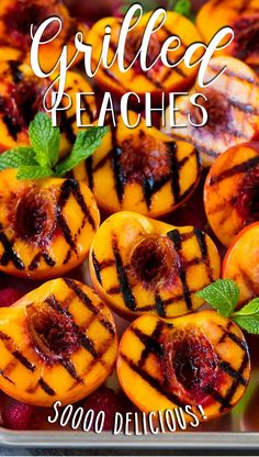 These grilled peaches are seared on the grill until tender and caramelized, then brushed with cinnamon honey for a sweet finish. Summer Grilling Recipes, Healthy Grilling, Summer Recipes, Fruit Recipes, Appetizer Recipes, Healthy Appetizers, Healthy Foods, Dessert Recipes, Grilled Fruit