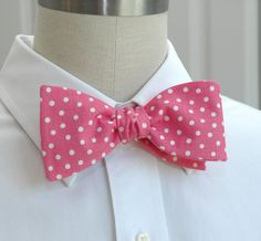 Men's Bow Tie in hot pink with white polka dots. $27.00, via Etsy.