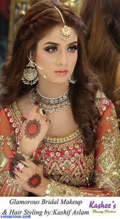 49 Ideas Pakistani Bridal Makeup Mehndi Hairstyles For 2019 Pakistani Wedding Hairstyles, Mehndi Hairstyles, Pakistani Bridal Makeup, Prom Hairstyles, Pakistani Mehndi, Fashion Hairstyles, Kashees Hairstyle, Hairstyles For Lehenga, Indian Hairstyles