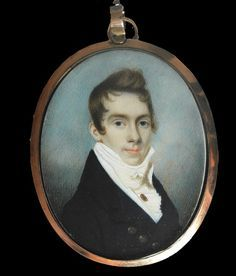 An unknown Gentleman, Attributed to Charles Robertson Wearing a dark coat, white waistcoat with jewelled stick pin and tied cravat  set in the original gold frame the reverse with fine minute seed pearl monogram DD on crescent shaped blue enamel surrounded with further seed pearls, locks of hair tied with seed pearls