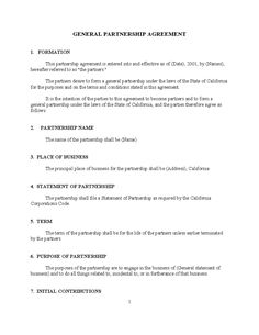 National Partnership Agreement  Partnership Agreement Templates
