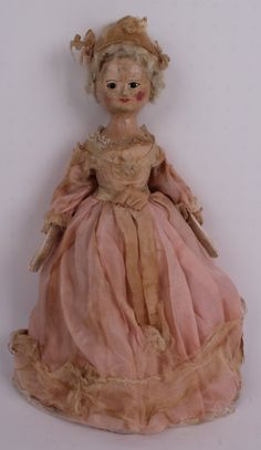 A rare George III carved wooden child doll, Englis