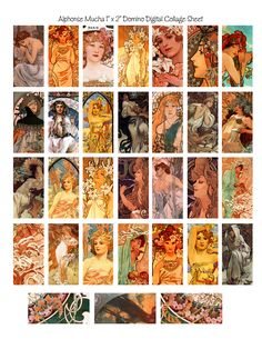 Free domino Alphonse Mucha digital collage free download scrapbooking, collages, journals by Denise @ Tendency Nation