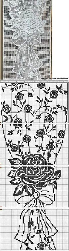 This Pin was discovered by sha Filet Crochet Charts, Crochet Motifs, Crochet Blocks, Crochet Diagram, Crochet Doilies, Crochet Stitches, Crochet Patterns, Crochet Home, Knit Crochet
