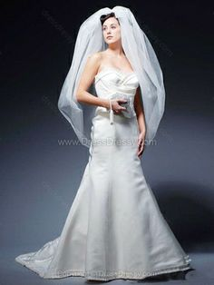 Trumpet/Mermaid Sweetheart Satin Sweep Train Pleats Wedding Dresses -$250.09