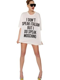 Bold and clear. CAPSULE COLLECTION COTTON JERSEY T-SHIRT #moschino #jeremyscott