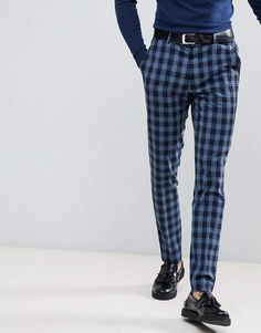 Find the best selection of ASOS Super Skinny Suit Pants in Blue Plaid Check. Shop today with free delivery and returns (Ts&Cs apply) with ASOS! Tartan Pants Mens, Tartan Suit, Plaid Pants Outfit, Trouser Suits, Trousers, Suit Pants, Skinny Suits, Checked Suit, Jersey Shorts